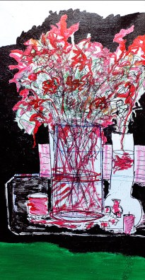 'Still life with fish' ink and marker on canvas, 17.5 by 35.5 inches, 2014 (sold)
