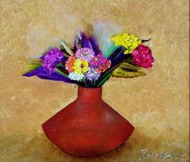 'Red vase ll' oil on canvas, 24 by 24 inches, 2012 (sold)