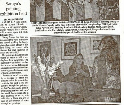 Soraya's paintings exhibition featured in The Leader