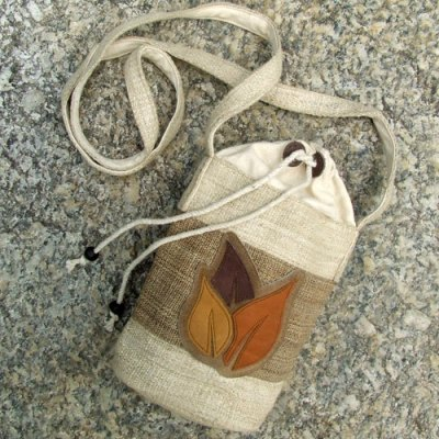 A bag crafted from Nettle, Hemp and buffalo leather.