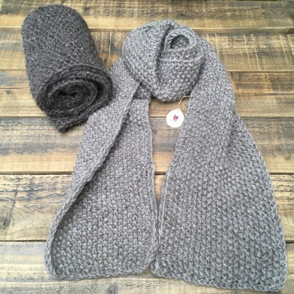 Hand-knit muffler scarf