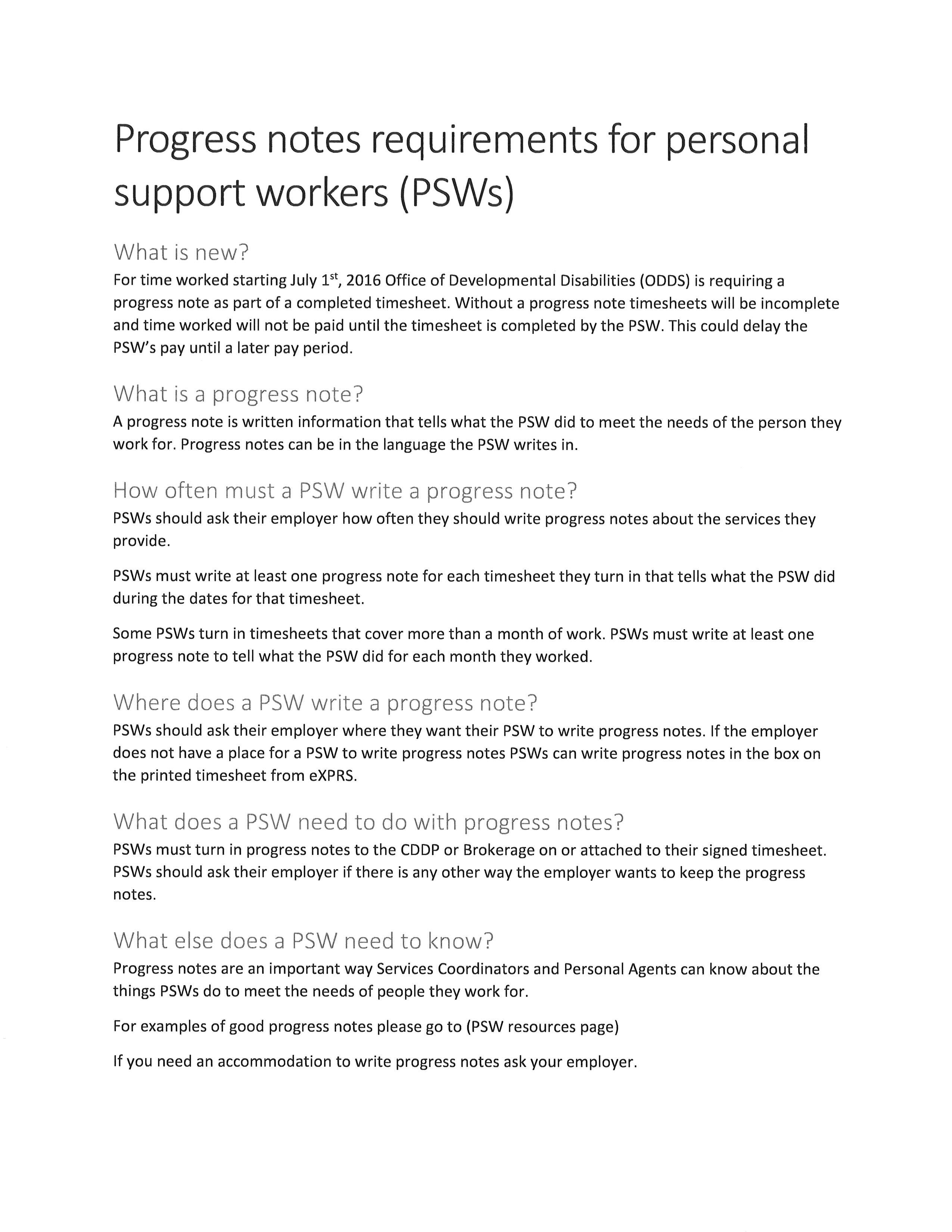 Progress Notes Toolkit: A Guide For Personal Support Workers Serving People  With Disabilities In Oregon