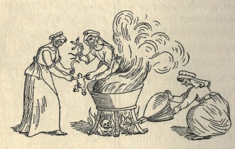 "witches around a cauldron, Victorian sketch From ""The Devil in Britain & America"""