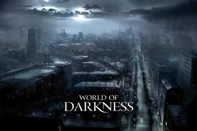 "A dark urban landscape with the title ""World of Darkness"". This is Gothic Punk."