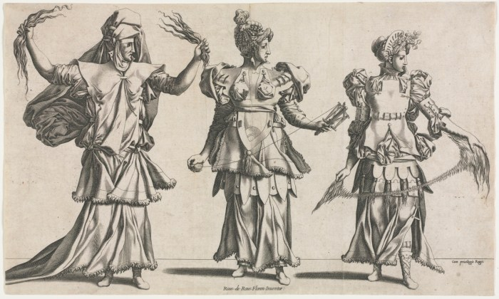 Costumes for a masquerade, playing the roles of the Three Fates. By Pierre Milan, 1534.