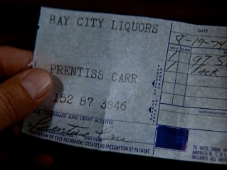 A textbook detective story clue that allows Jim to solve the case, (note the date of the receipt, 8-