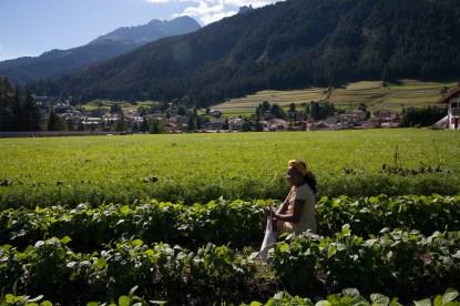 Laura che raccoglie fagiolini