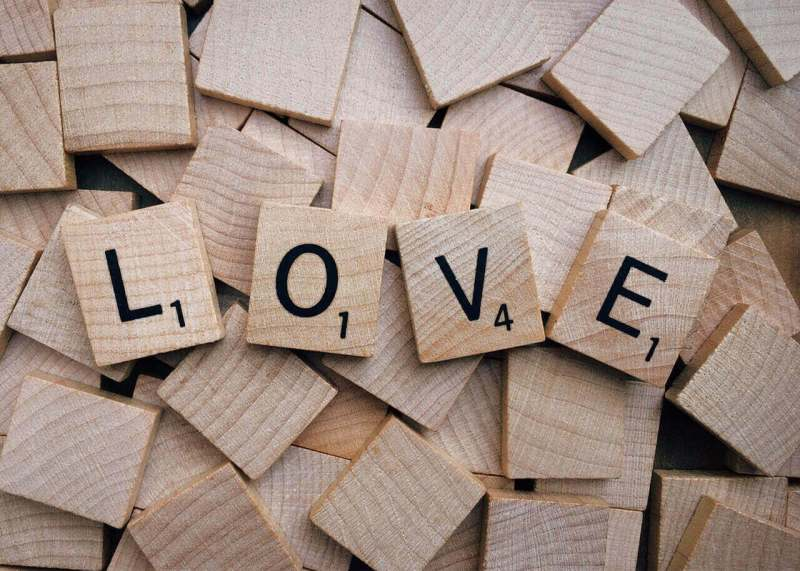 love spelled with scrabble