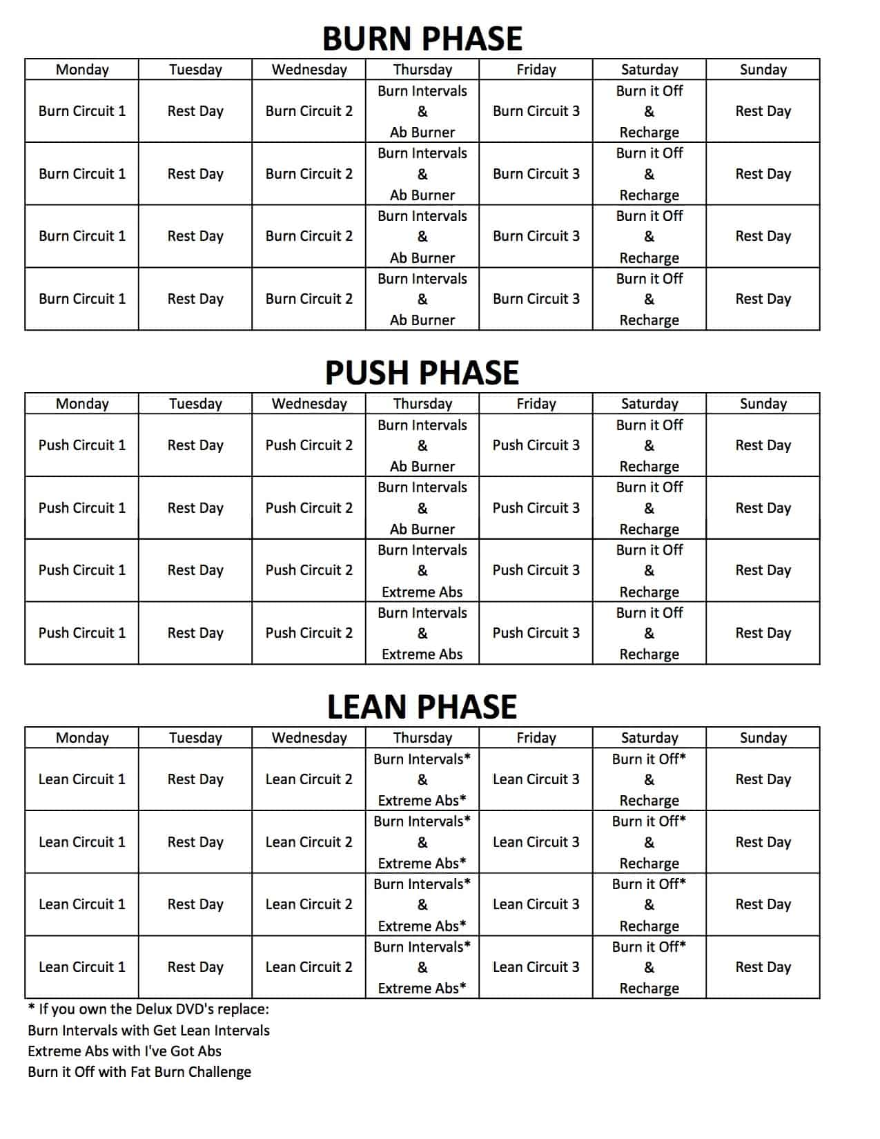 Chalean Extreme Amp Deluxe Options Workout Schedule Calendar