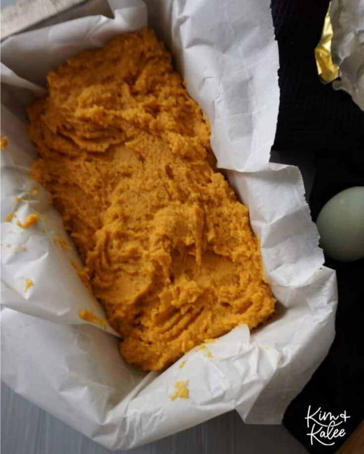 The Low Carb Keto Pumpkin Bread Dough in a Bundt Pan