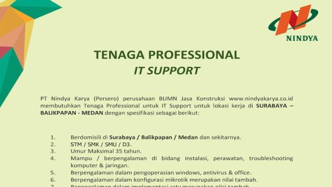 Lowongan Kerja Tenaga Profesional IT Support
