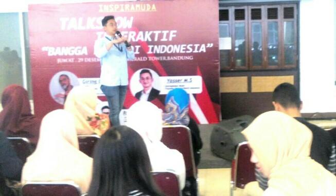 Yasser MS, founder Matahari Kecil saat menjadi pembicara di talkshow interaktif inspiramuda Bangga Menjadi Indonesia, Jumat 29 Desember 2017.
