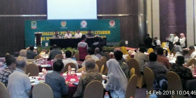 Sosialisasi Penataan Sungai Citarum di Wilayah Karawang, (14/2/2018).