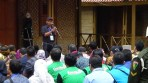 Kepala Dinas Lingkungan Provinsi Jawa Barat, Anang Sudarna, saat memberikan sambutannya di gelaran Citarum Harum, Situ Cisanti, kabupaten Bandung. Gelaran tersebut dihadiri oleh Presiden RI Joko Widodo. (22/2/2018).