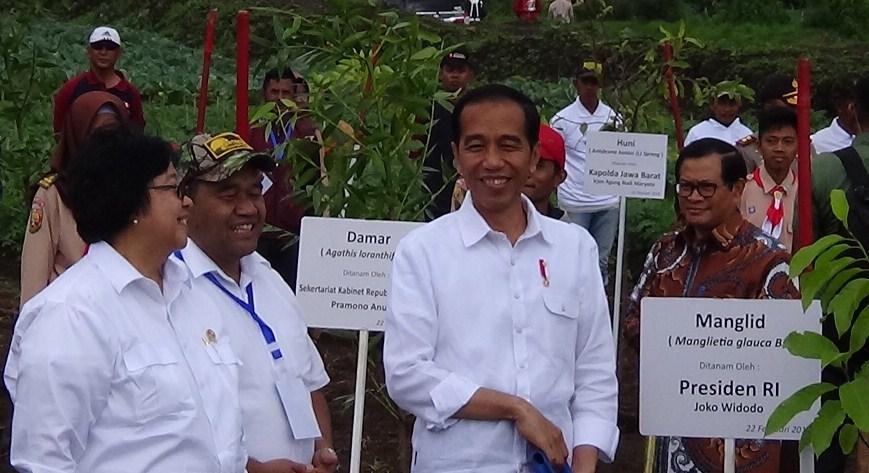 Presiden RI Joko Widodo saat melaksanakan penanaman bibit pohon di kawasan Situ Cisanti Desa Tarumajaya Kecamatan Kertasari, Kabupaten Bandung, Kamis (22/2/2018).