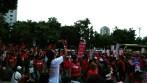 Aksi Unjuk rasa buruh KASBI di depan Istana Merdeka