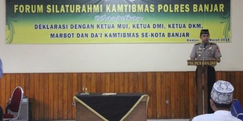 Kapolres Banjar AKBP Twedi AB di gelaran deklarasi Kepolisian dan Tokoh Agama dalam rangka meningkatkan kesadaran masyarakat terhadap Kamtibmas, (10/3/2018).