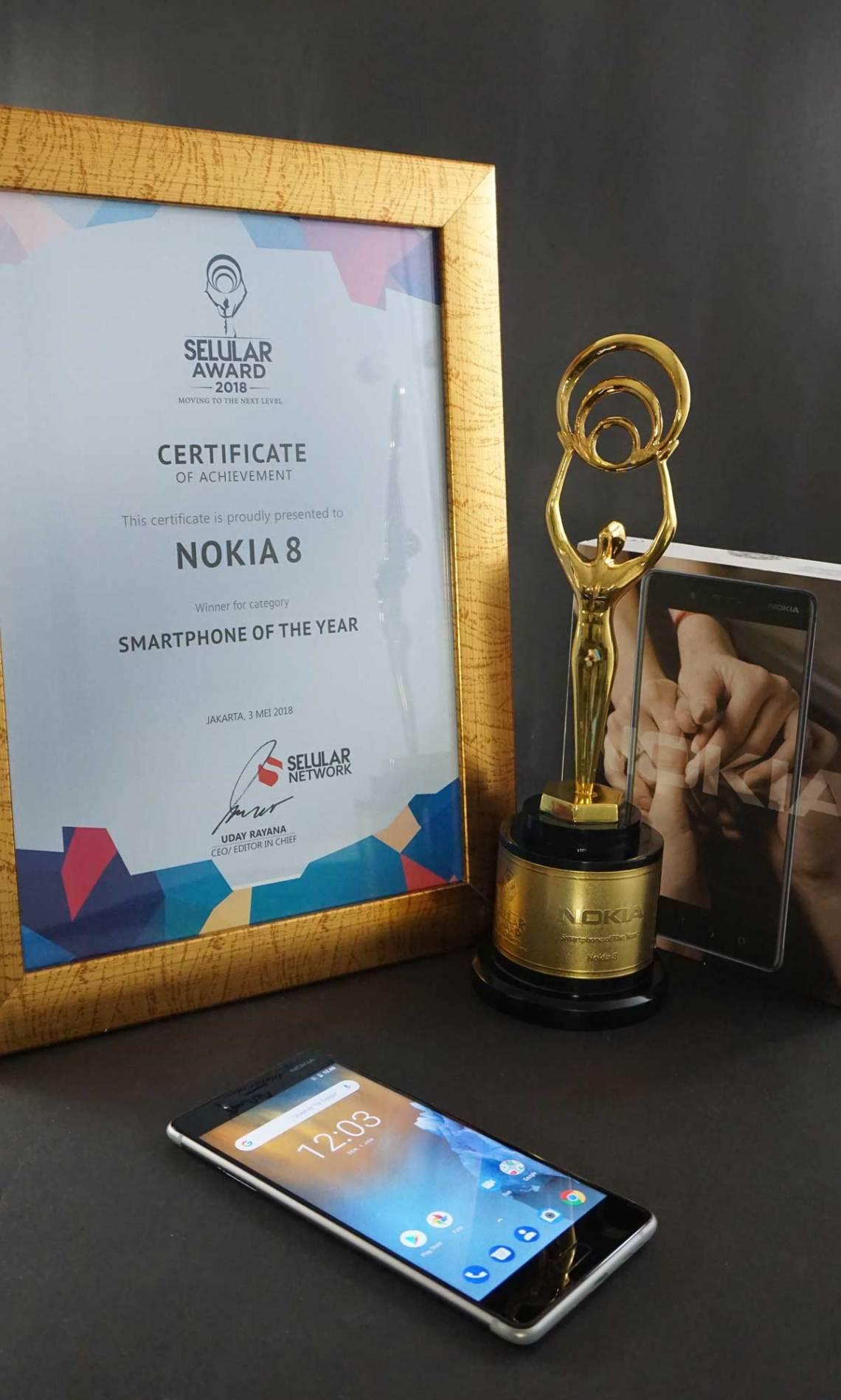Smartphone Nokia memenangkan dua kategori bergengsi, yaitu Smartphone of The Year untuk Nokia 8 dan Best Build Quality untuk Nokia 6.