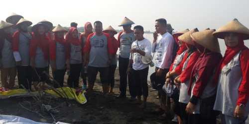 Berikan arahan : Petugas pengelola hutan mangrove area Tugu tengah memberikan informasi tentang mangrove dan arahan cara menanam yang benar