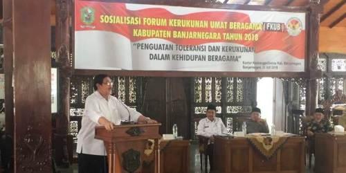 Ketua FKPT Jateng Dr Drs Budiyanto, SH, M.Hum, saat memaparkan materi dalam kegiatan FKAUB Banjarnegara