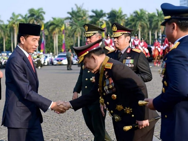 Presiden Jokowi di perayaan HUT ke-73 Bhayangkara