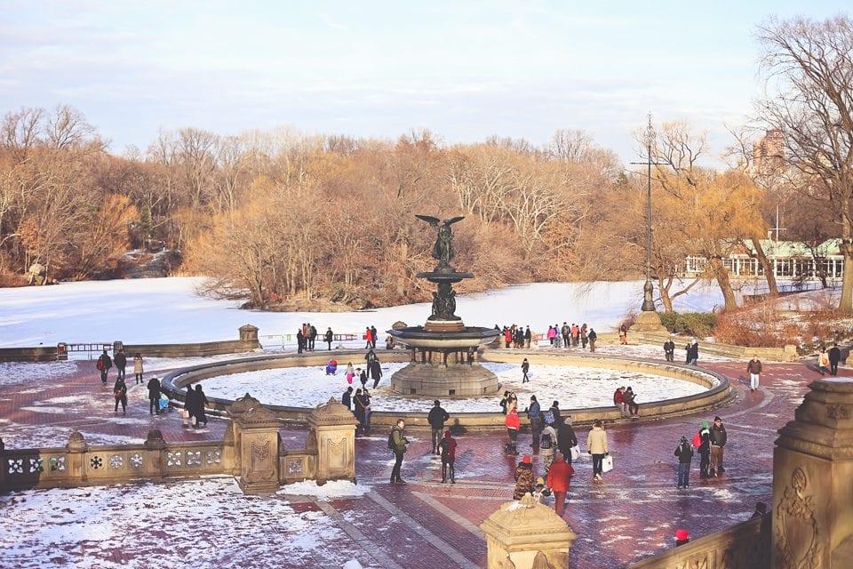 central park fountain winter