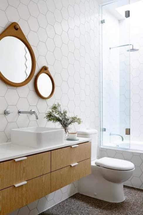white hexagon bathroom tile