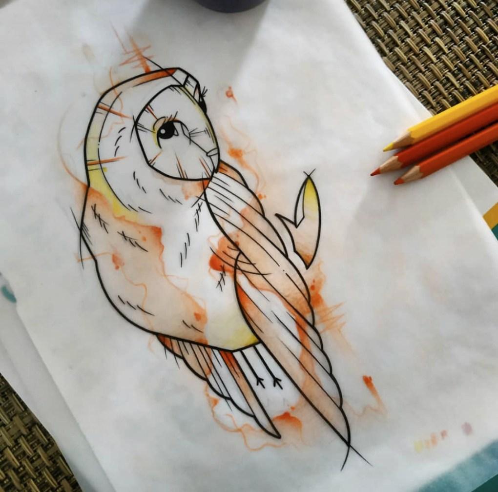 Tatouage aquarelle hiboux