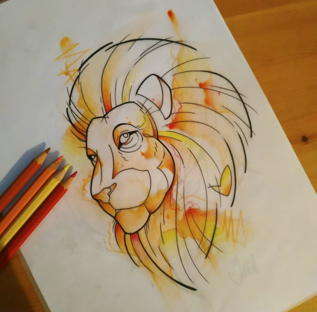 Tatouage aquarelle lion