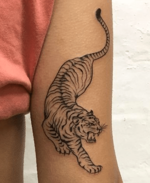 Tatouage tigre descendant