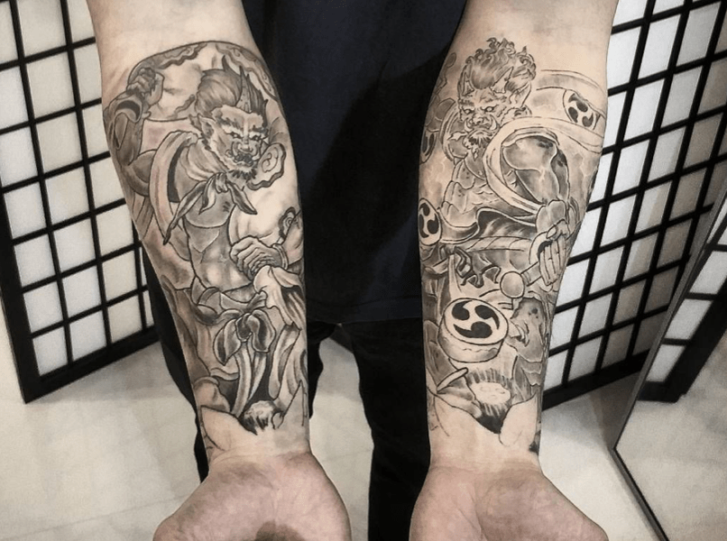 Tatouage Fujin et Raijin japonais