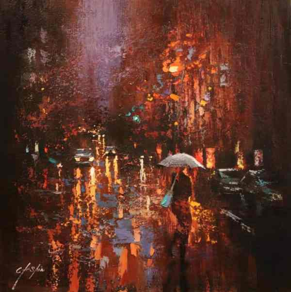 """A Rainy Day in New York"" - Open Edition Print by Chin h Shin"