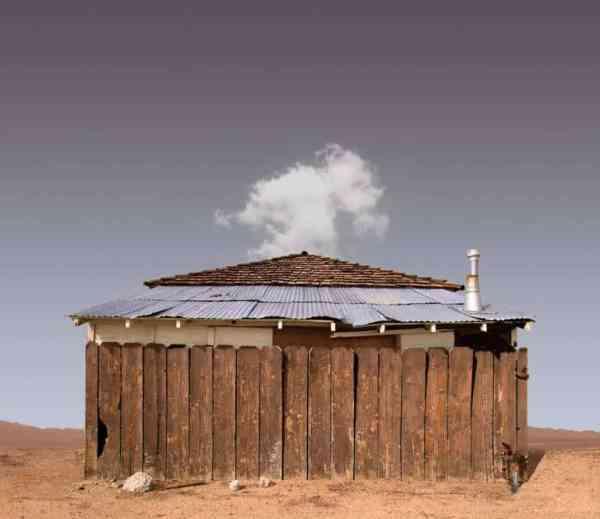 """Fenced House, Lone Pine CA - Edition 3 of 9"" - Original Artwork by Ed Freeman"