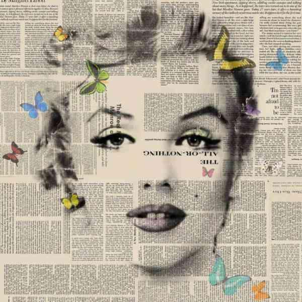 """""""Marilyn Monroe - Butterflies 4 - signed limited edition of 80"""" - Original Artwork by VeeBee VeeBee"""