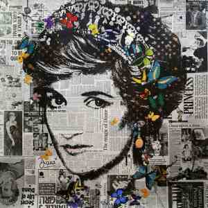 """Princess Diana (Illuminated) Limited Edition of 10 only"" - Original Artwork by VeeBee VeeBee"