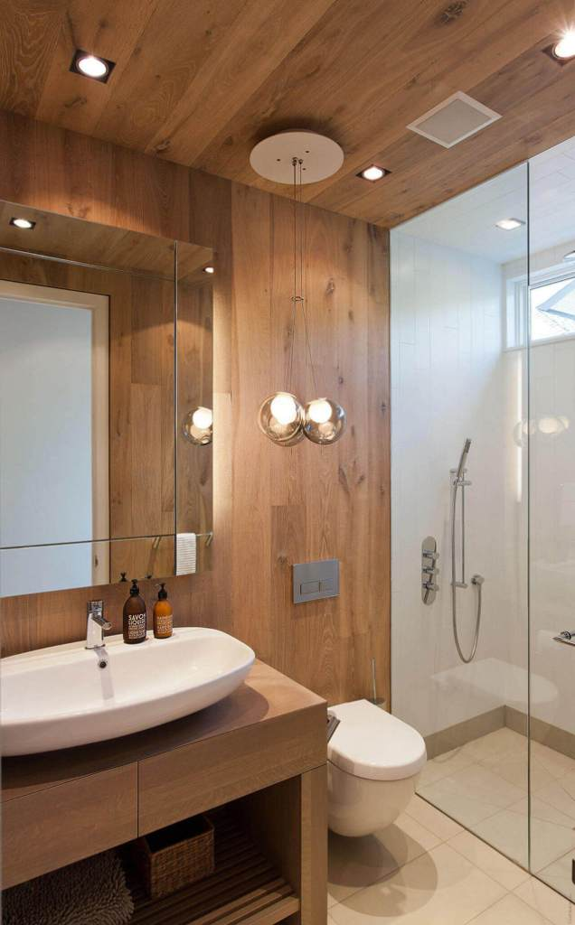 wooden ceiling bathroom remodel ideas