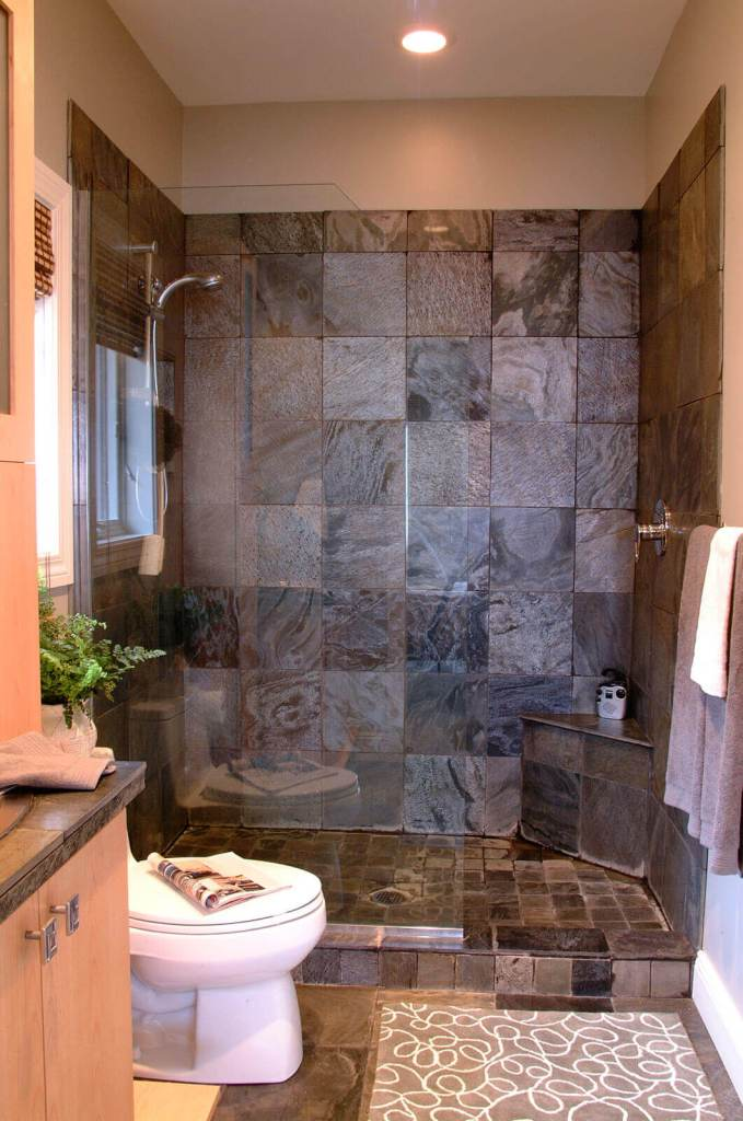 Walk in shower bathroom