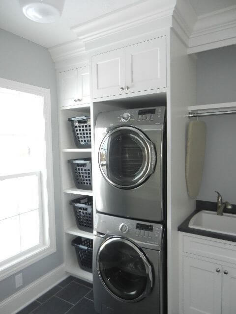 Unbelievable small laundry room ideas with stacked washer and dryer