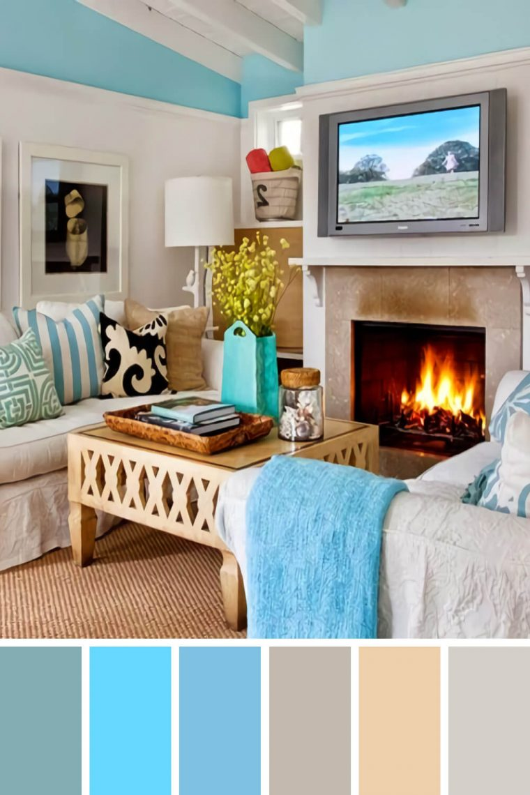 sky blue & gray living room color