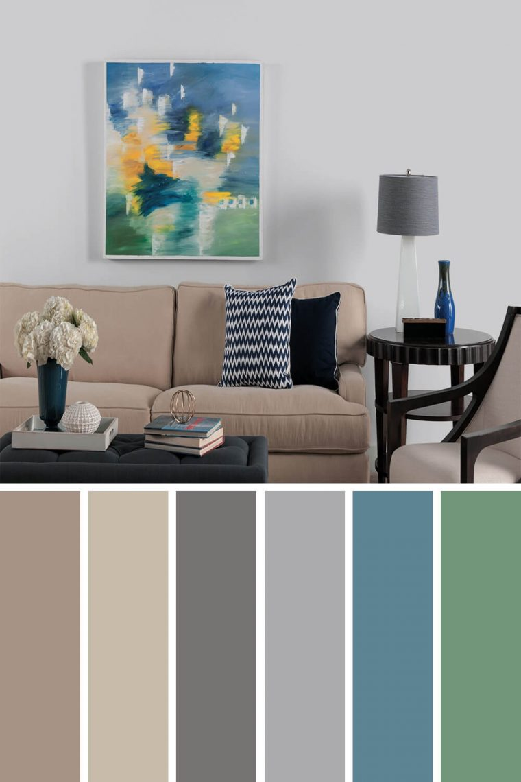gray living room with brown couch