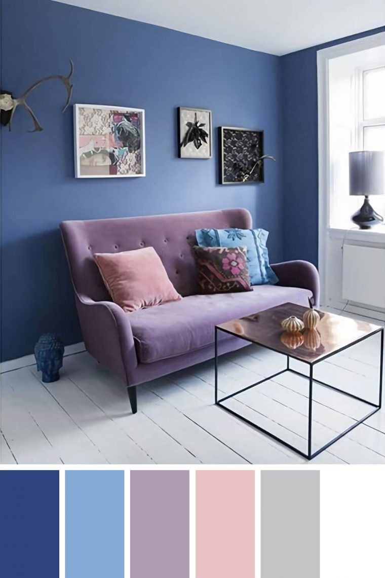 Staggering living room color schemes with navy blue