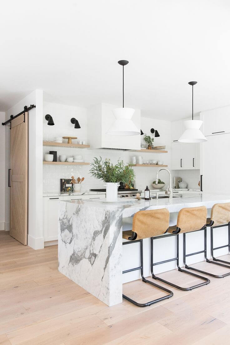 Marble Kitchen Island with Seating