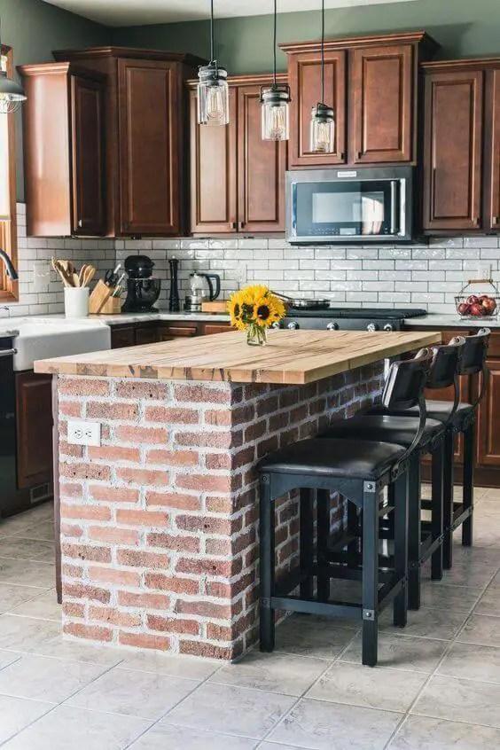 Bricked Kitchen Island Ideas