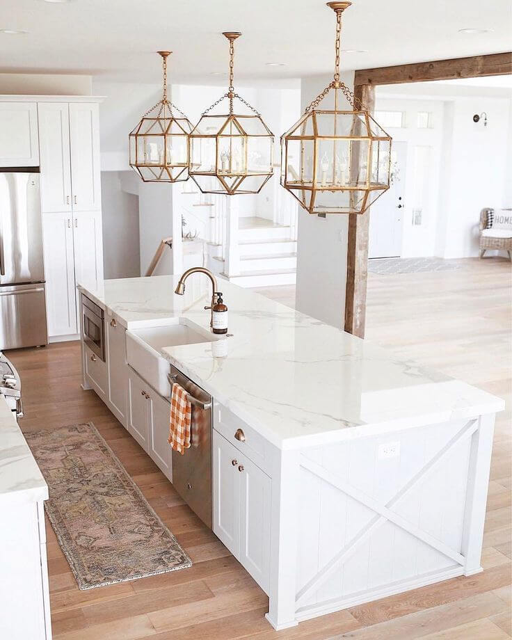 Long Kitchen Island with Sink