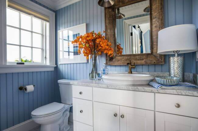 Warmed up GreyBlue and White Bathroom