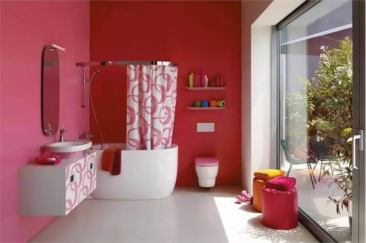 Amaranth and White bathroom