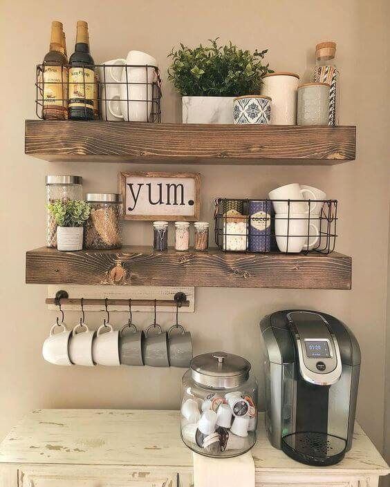 Perfect coffee bar with wooden floating shelves