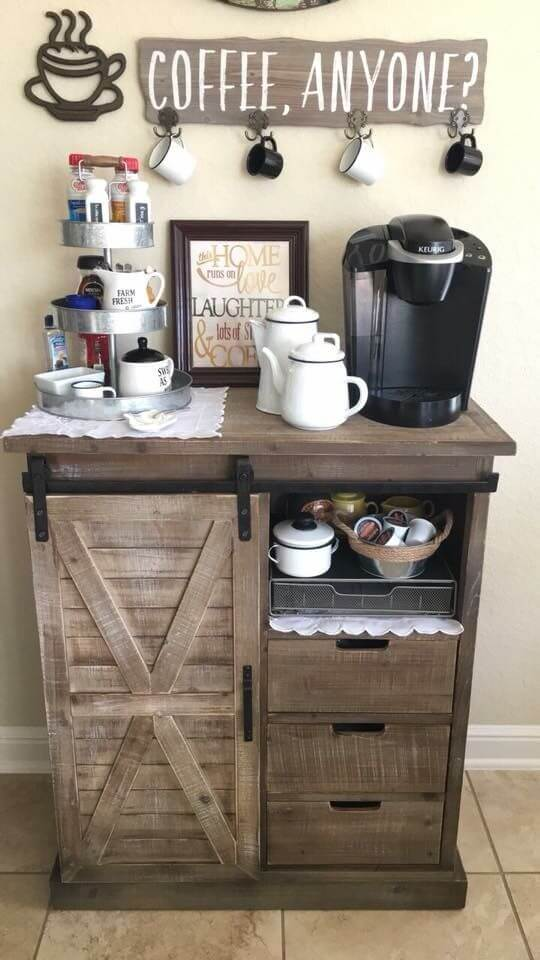 small rustic coffee bar cabinet