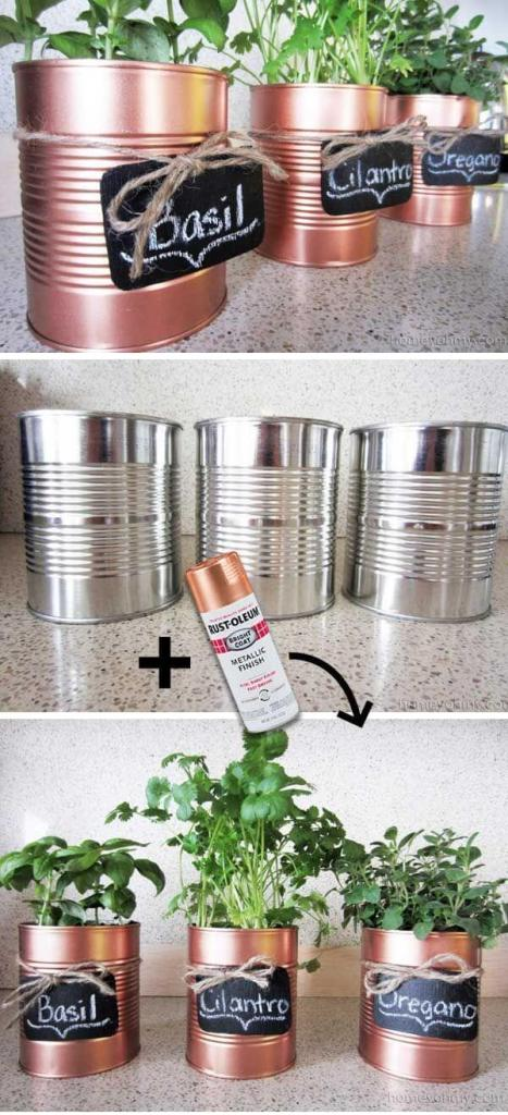 Spray Tins to Pretty up Your Planters DIY Home Decor Ideas