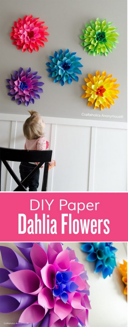Rainbow Paper Dahlia Flowers DIY Home Decor Ideas